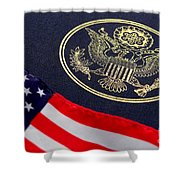 Great Seal Of The United States And American Flag Shower Curtain