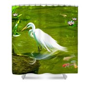 Great White Egret Bird With Deer And Fish In Lake  Shower Curtain