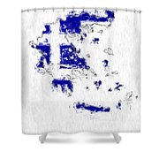 Greece Painted Flag Map Shower Curtain