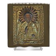 Greek Icon Of Saint Nicolas  Shower Curtain