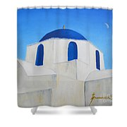 Greek Island Church  Shower Curtain