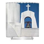 Greek Island Church Shower Curtain