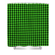 Green And Black Checkered Pattern Cloth Background Shower Curtain