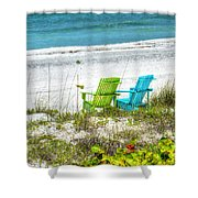 Green And Blue Chairs Shower Curtain