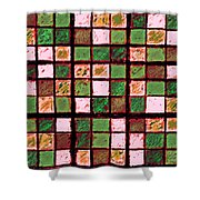 Green And Brown Sudoku Shower Curtain