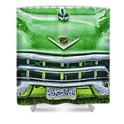 Green And Chrome-hdr Shower Curtain