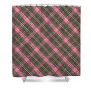 Green And Pink Diagonal Plaid Pattern Textile Background Shower Curtain