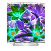 Green And Purple Cactus Shower Curtain