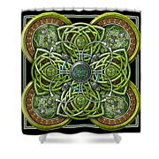 Green And Silver Celtic Cross Shower Curtain