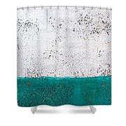 Green And White Wall Texture Shower Curtain