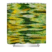 Green And Yellow Abstract Shower Curtain