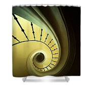 Green And Yellow Spirals Shower Curtain