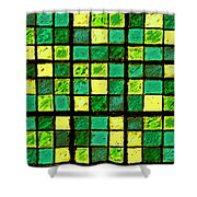 Green And Yellow Sudoku Shower Curtain