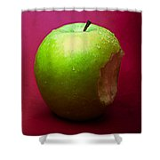 Green Apple Nibbled 1 Shower Curtain