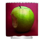 Green Apple Nibbled 2 Shower Curtain