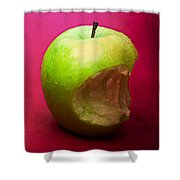 Green Apple Nibbled 3 Shower Curtain