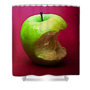 Green Apple Nibbled 5 Shower Curtain