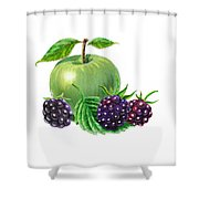 Green Apple With Blackberries Shower Curtain