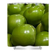 Green Apples On Display At Farmers Market Shower Curtain