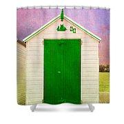Green Beach Hut Shower Curtain