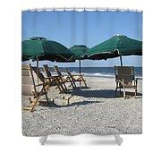 Green Beach Umbrellas Shower Curtain