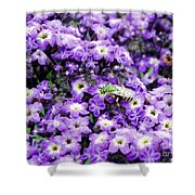 Green Bee Tiny Pollinator Shower Curtain