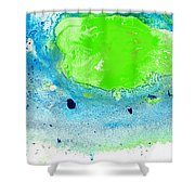 Green Blue Art - Making Waves - By Sharon Cummings Shower Curtain