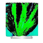 Green Blue Plant Abstract Shower Curtain