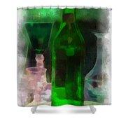 Green Bottle Photo Art Shower Curtain