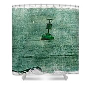 Green Buoy - Barnegat Inlet - New Jersey - Usa Shower Curtain