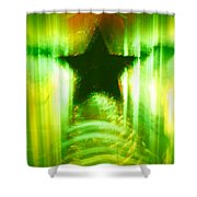 Green Christmas Star Shower Curtain by Gaspar Avila