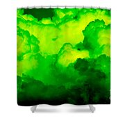 Green Clouds Shower Curtain