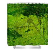 Green Color Sigh Shower Curtain