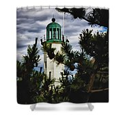 Green Copper Lantern Room On Scituate Lighthouse Shower Curtain