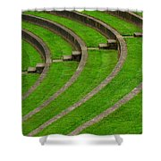 Green Curves And Steps Shower Curtain