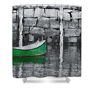 Green Dinghy Floating Shower Curtain