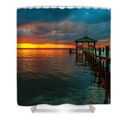 Green Dock And Golden Sky Shower Curtain