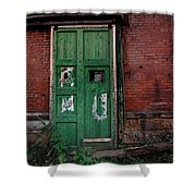 Green Door On Red Brick Wall Shower Curtain