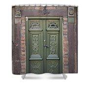 Green Door Ystad Shower Curtain