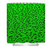 Green Drops On Water-repellent Surface Shower Curtain