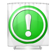 Green Exclamation Point Button Shower Curtain