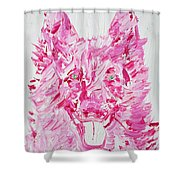 Green Eyes Dog / Oil Portrait Shower Curtain