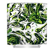 Green Fiction Shower Curtain