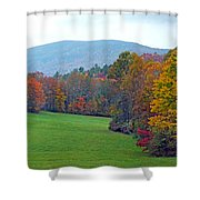 Green Field In The Fall Shower Curtain