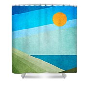 Green Fields Blue Waters Shower Curtain