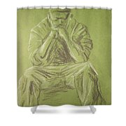 Green Figure I Shower Curtain