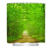 Green Forest Tunnel Shower Curtain