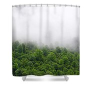 Green Forest With Clouds Shower Curtain