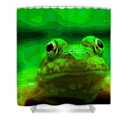 Green Frog Poster Shower Curtain