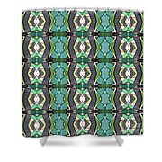 Green Geometric Abstract Pattern Shower Curtain